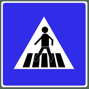 """Das Verkehrszeichen """"Fußgängerüberweg"""" kündigt einen Zebrastreifen an."""