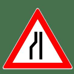 Einseitig links verengte Fahrbahn