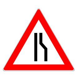 Einseitig rechts verengte Fahrbahn